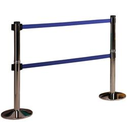 Visiontron Retracta-Belt™ 10' Double Belt Barrier with Black Post