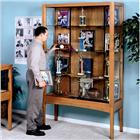 "Image of Brodart 48""W Vertical Oak Exhibit Case"