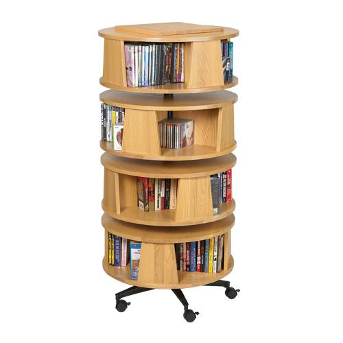 Brodart Solid Oak CD/DVD/Book 4 Tier Revolver