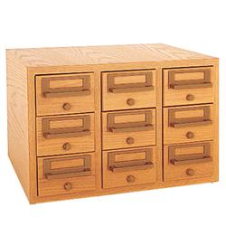 Brodart Nine-Tray Card Catalog Cabinet with Solid Oak Front