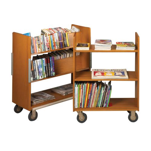 Brodart Classic Solid Wood Compact Double-Faced Book Trucks
