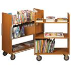 Image of Brodart Classic Solid Wood Standard Three Flat Shelf Book Trucks