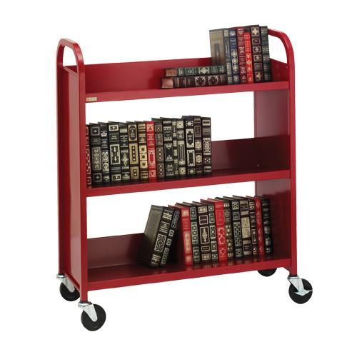 Bretford Duro Series Thin-Line Steel Book Truck with Three Sloping Shelves