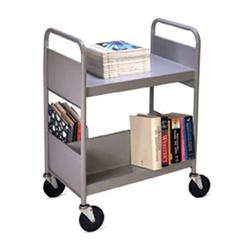 Biofit® Double-Sided Welded Steel Book Truck with Two Sloping, One Flat Top Shelf
