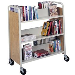 Horizon Double-Sided Steel/Wood Book Truck with Six Sloping Shelves