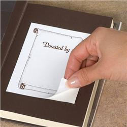"Brodart Adhesive Backed Bookplates with Brown Ink Scroll and ""Donated by"" Text"