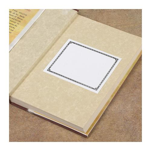 Brodart Adhesive Backed Bookplates with Decorative Stitch Border