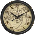 Image of Oversized Old World Map Wall Clock with Distressed Case