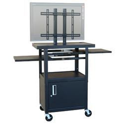 "HamiltonBuhl Adjustable 26""-42""H Flat Panel Cart with Cabinet"