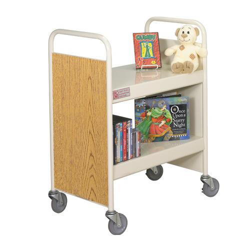 "Brodart 28""W Two Flat Shelf Steel Book Trucks"