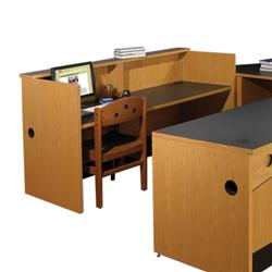 Brodart Ovation Double-Wide Open Desks with Patron Ledge