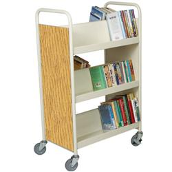 "Brodart 28""W Double-Sided Steel Book Trucks with Six Sloping Shelves"