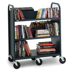 4 sloping shelf, one flat bottom shelf Mammoth Booktruck