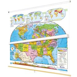 Nystrom Political Relief United States/World Map Combo