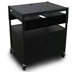 Marvel Spartan Series: Adjustable Media Projector Cart with Cabinet, 2-Sided Pull-Out Front Shelf, Bin, & Optional Electrical