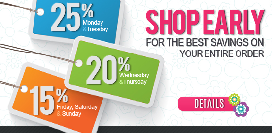 Shop Early Save More!   Offer Ends 2/03/2020