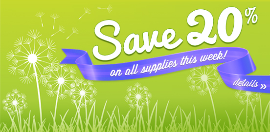 Save 20% on supplies   Offer Ends 05/29/2016