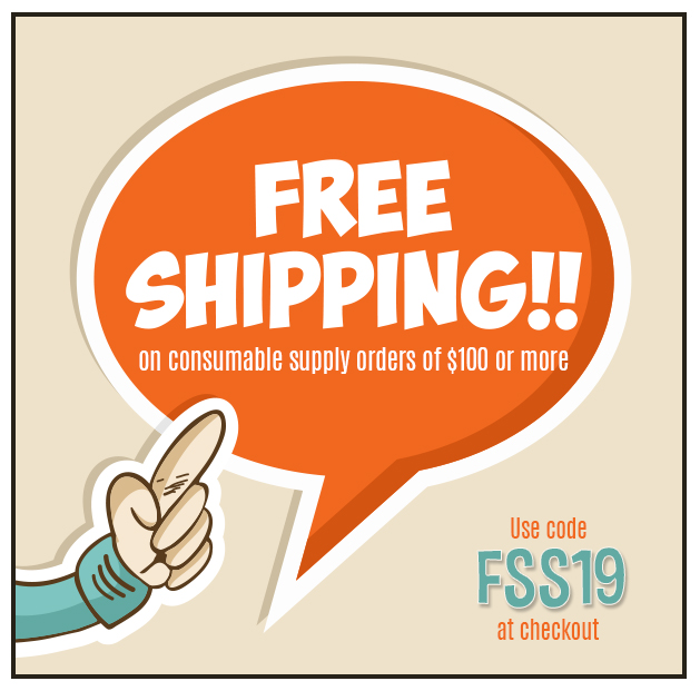 Free Ground Shipping on Supply Orders of  $100 or More!  Some Exclusions apply. Offer Ends 9/22/2019