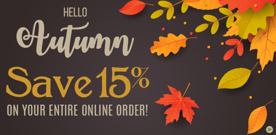 Save 15% on Everything!   Offer Ends 10/14/2018