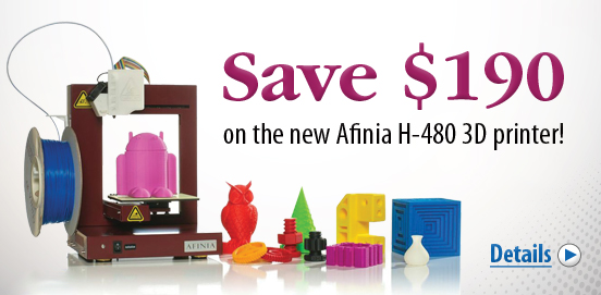 Save $190 OFF the Afinia 3D Printer! Offer ends December 31 2014!