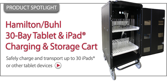 Hamilton Buhl 30-Bay Table Ipad Charging Storage Cart!