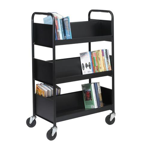 Biofit® Double-Sided Welded Steel Book Truck with Six Sloping Shelves